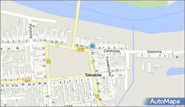Sieraków, Plac Powstańców Wielkopolskich, 22, mapa Sieraków