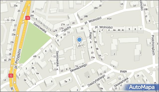 Słubice, Plac Przyjaźni, 13, mapa Słubice