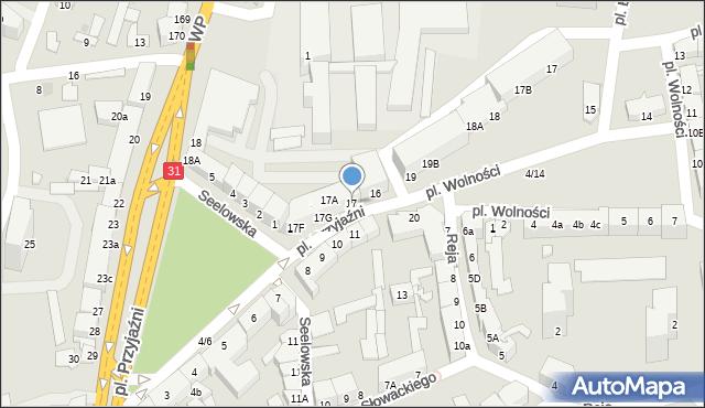 Słubice, Plac Przyjaźni, 17, mapa Słubice