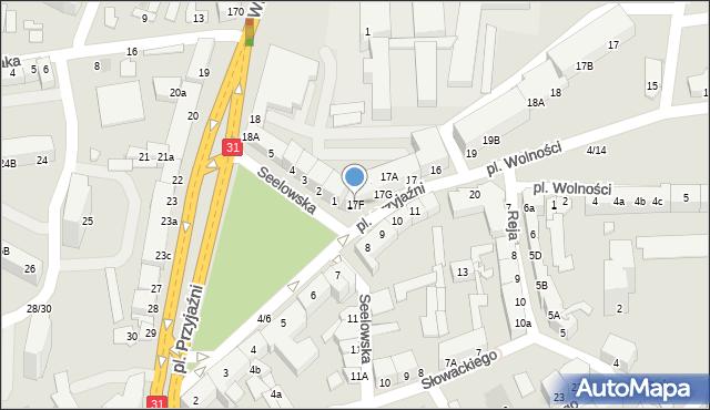 Słubice, Plac Przyjaźni, 17F, mapa Słubice