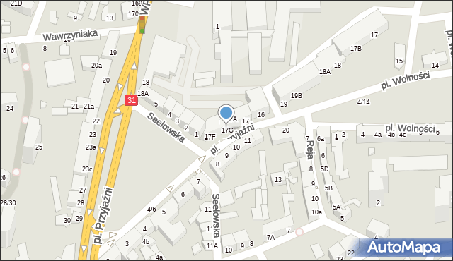 Słubice, Plac Przyjaźni, 17G, mapa Słubice