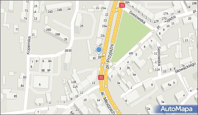 Słubice, Plac Przyjaźni, 29, mapa Słubice