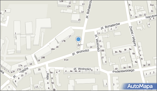 Słubice, Plac Wolności, 15, mapa Słubice