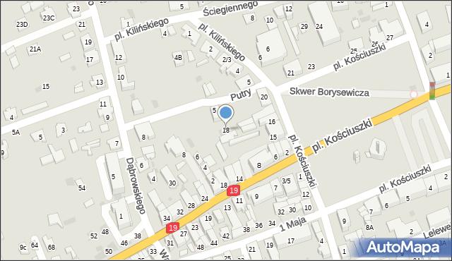Sokółka, Plac Kościuszki Tadeusza, gen., 18, mapa Sokółka