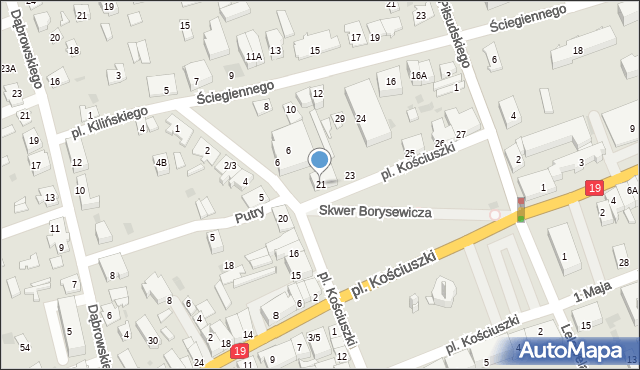 Sokółka, Plac Kościuszki Tadeusza, gen., 21, mapa Sokółka