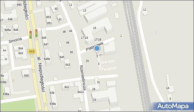 Sopot, Platanowa, 2, mapa Sopotu
