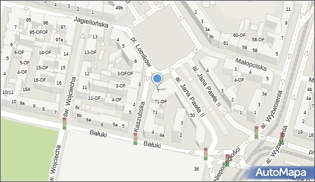 Szczecin, Plac Lotników, 7, mapa Szczecina