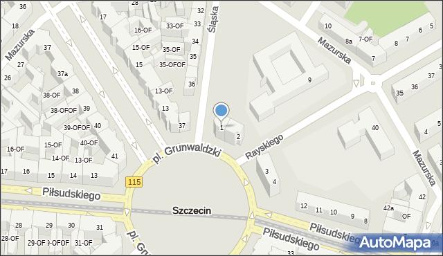 Szczecin, Plac Grunwaldzki, 1, mapa Szczecina