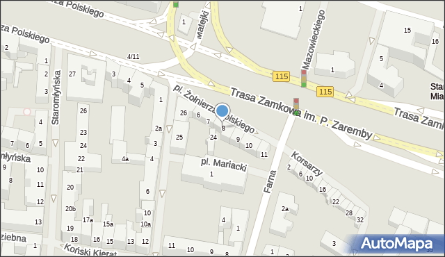 Szczecin, Plac Żołnierza Polskiego, 8, mapa Szczecina