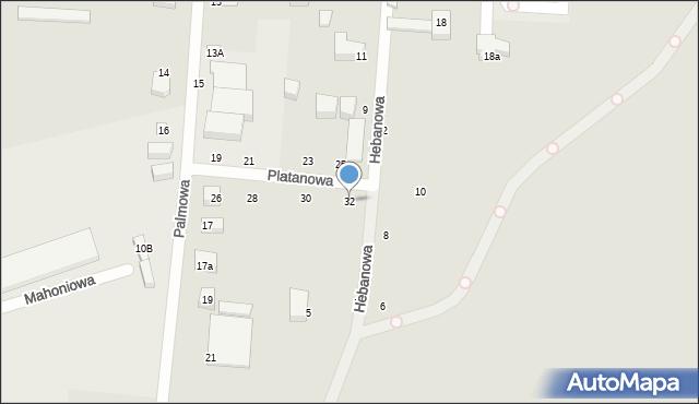 Toruń, Platanowa, 32, mapa Torunia