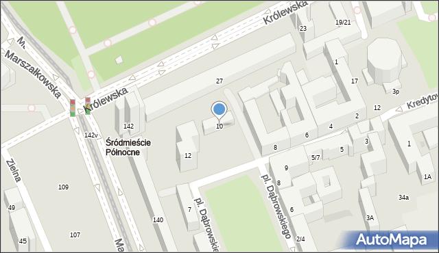 Warszawa, Plac Dąbrowskiego Henryka, gen., 10, mapa Warszawy