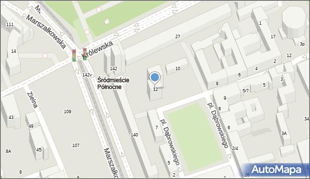 Warszawa, Plac Dąbrowskiego Henryka, gen., 12, mapa Warszawy
