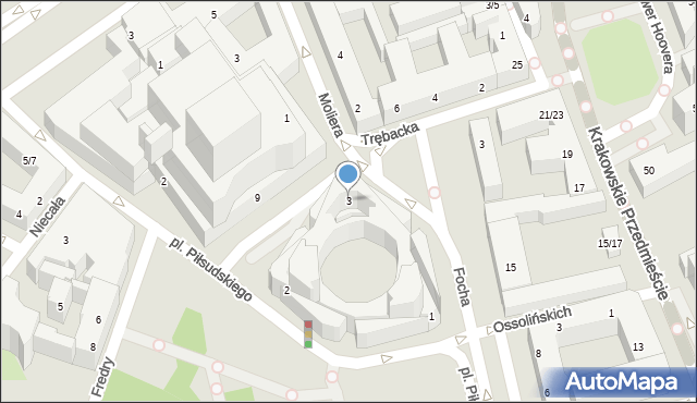 Warszawa, Plac Piłsudskiego Józefa, marsz., 3, mapa Warszawy