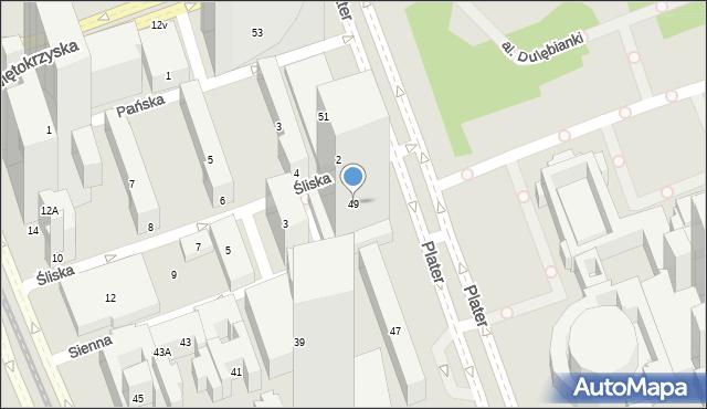 Warszawa, Plater Emilii, 49, mapa Warszawy