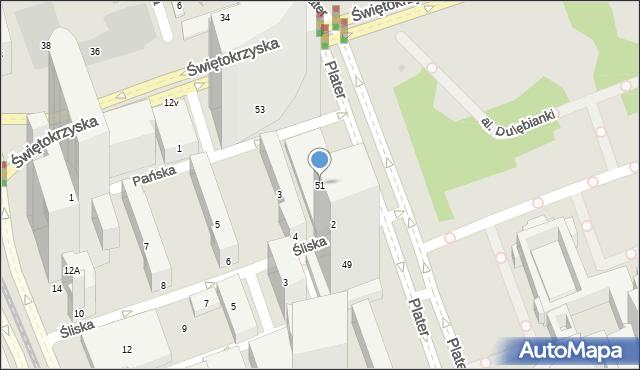 Warszawa, Plater Emilii, 51, mapa Warszawy