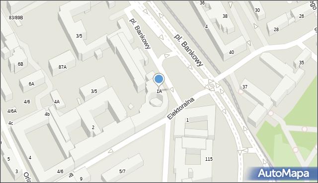 Warszawa, Plac Bankowy, 1A, mapa Warszawy