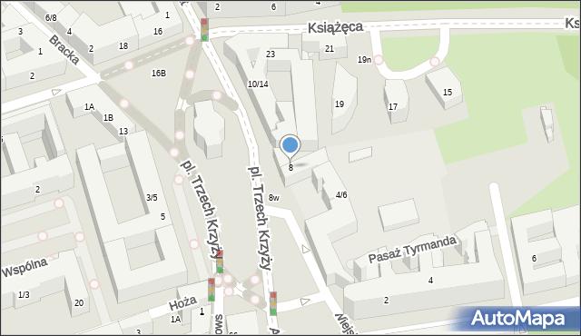 Warszawa, Plac Trzech Krzyży, 8, mapa Warszawy