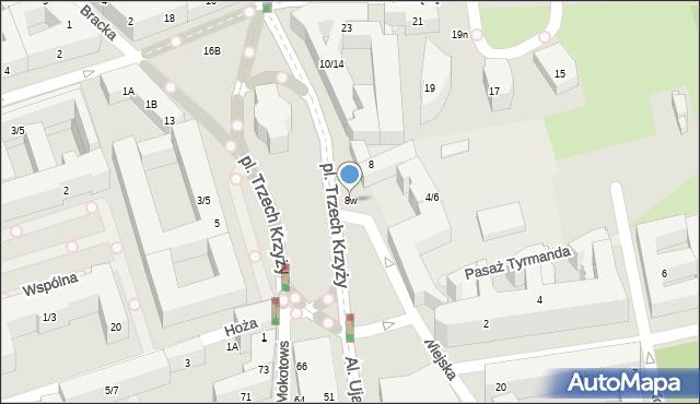 Warszawa, Plac Trzech Krzyży, 8w, mapa Warszawy