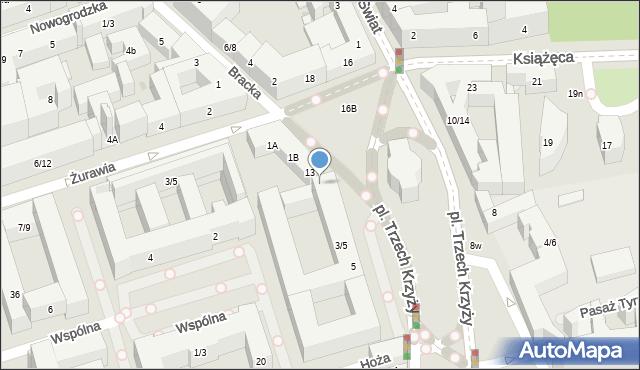 Warszawa, Plac Trzech Krzyży, 7, mapa Warszawy