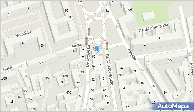 Warszawa, Plac Trzech Krzyży, 3, mapa Warszawy