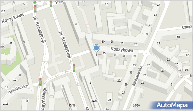 Warszawa, Plac Konstytucji, 4, mapa Warszawy
