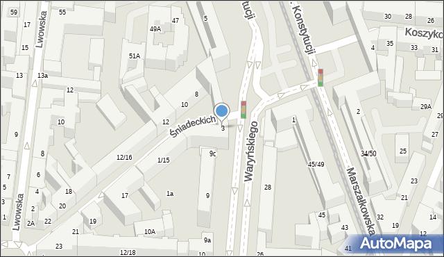 Warszawa, Plac Konstytucji, 3, mapa Warszawy