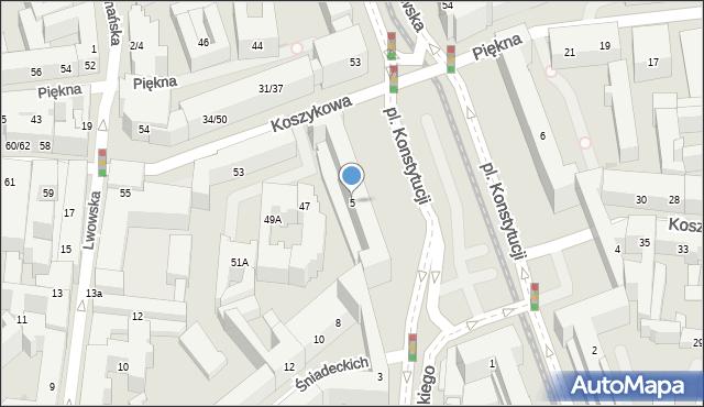 Warszawa, Plac Konstytucji, 5, mapa Warszawy