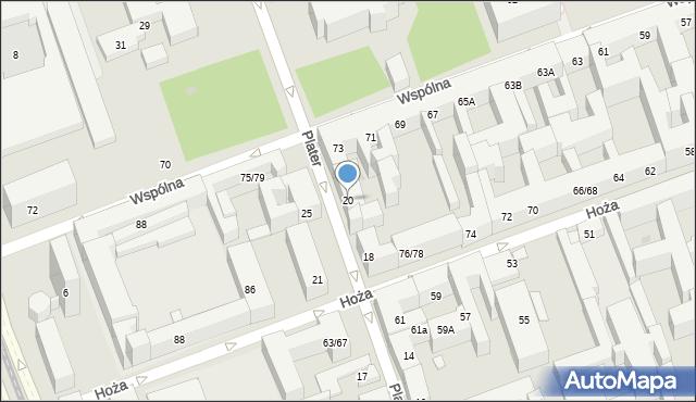 Warszawa, Plater Emilii, 20, mapa Warszawy