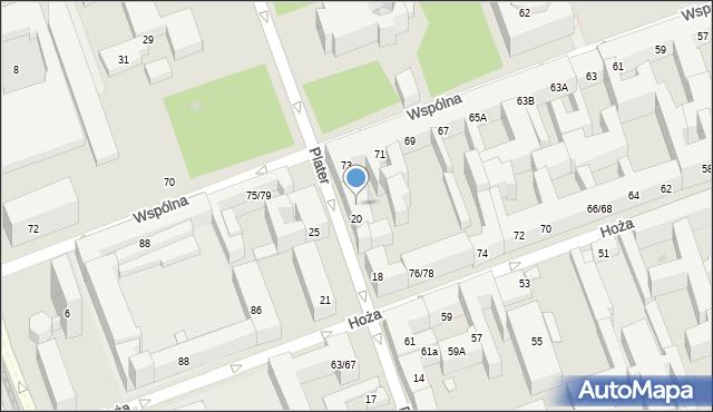 Warszawa, Plater Emilii, 24, mapa Warszawy