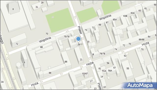 Warszawa, Plater Emilii, 25, mapa Warszawy