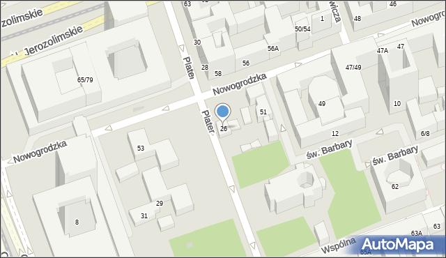 Warszawa, Plater Emilii, 26, mapa Warszawy