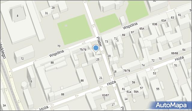Warszawa, Plater Emilii, 27, mapa Warszawy