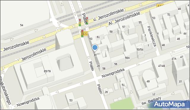 Warszawa, Plater Emilii, 30, mapa Warszawy