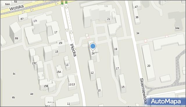Warszawa, Płocka, 14, mapa Warszawy