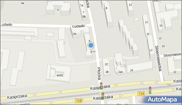 Warszawa, Płocka, 3, mapa Warszawy