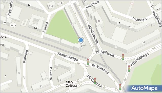 Warszawa, Plac Wilsona Thomasa Woodrowa, 4, mapa Warszawy