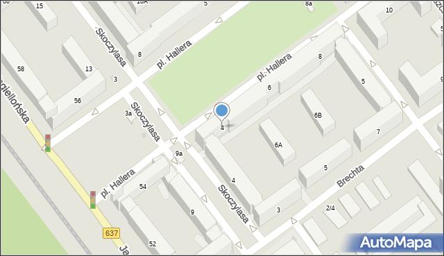 Warszawa, Plac Hallera Józefa, gen., 4, mapa Warszawy