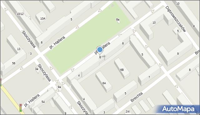 Warszawa, Plac Hallera Józefa, gen., 6, mapa Warszawy