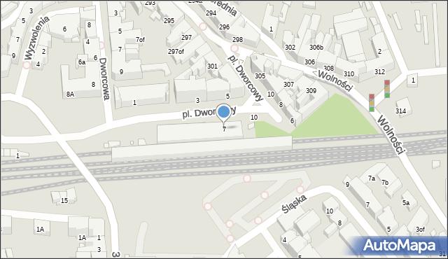 Zabrze, Plac Dworcowy, 7, mapa Zabrza