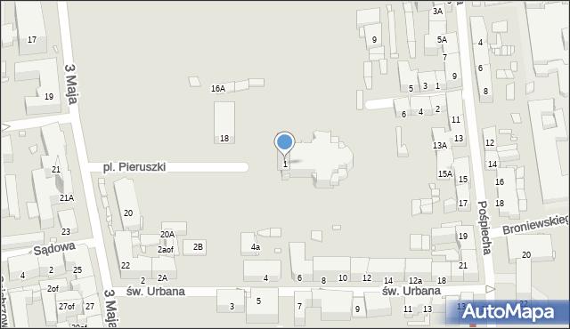 Zabrze, Plac Pieruszki Franciszka, ks., 1, mapa Zabrza