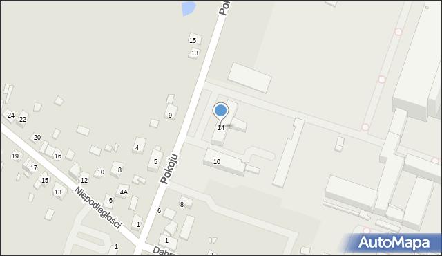 Będzin, Pokoju, 14, mapa Będzin