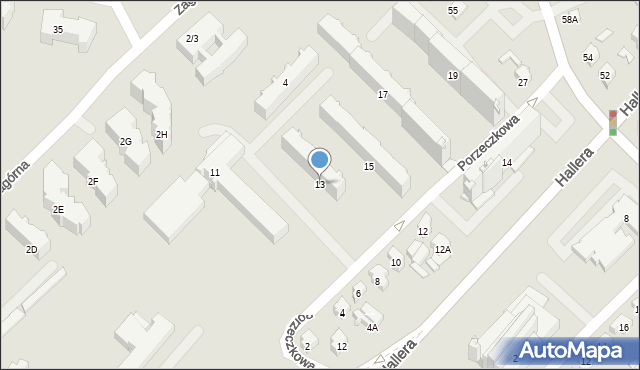 Białystok, Porzeczkowa, 13, mapa Białegostoku