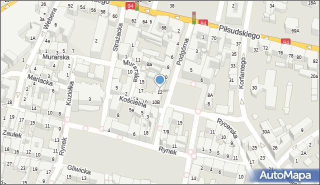 Bytom, Podgórna, 12, mapa Bytomia