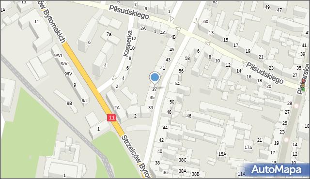 Bytom, Powstańców Warszawskich, 37, mapa Bytomia