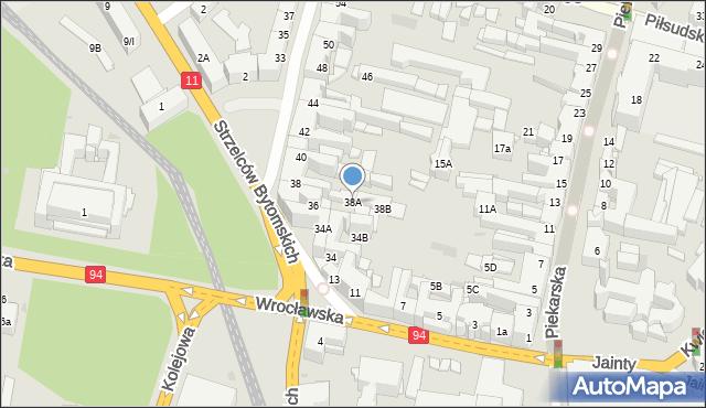 Bytom, Powstańców Warszawskich, 38A, mapa Bytomia