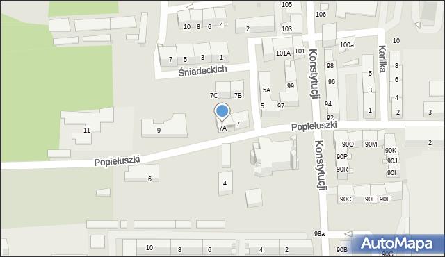 Bytom, Popiełuszki Jerzego, bł. ks., 7A, mapa Bytomia