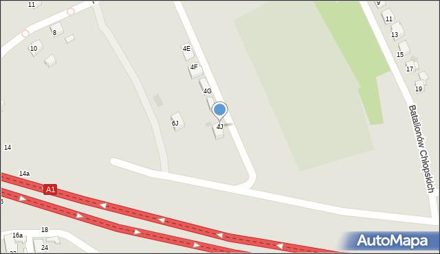 Bytom, Pochyła, 4J, mapa Bytomia
