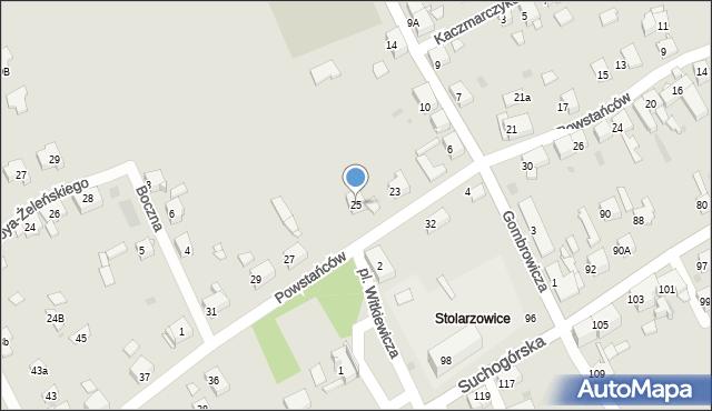 Bytom, Powstańców, 25, mapa Bytomia