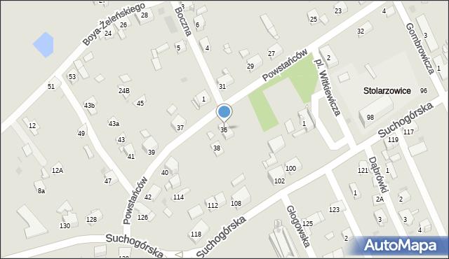 Bytom, Powstańców, 36, mapa Bytomia
