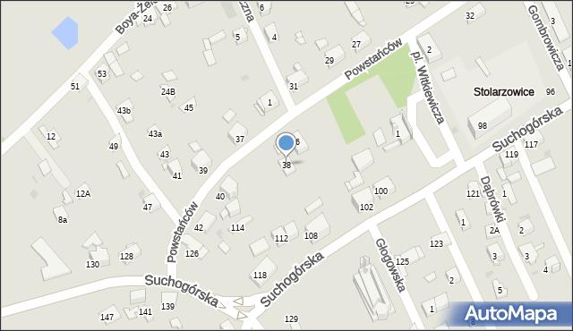 Bytom, Powstańców, 38, mapa Bytomia